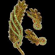 SALE Sparkling dimensional green leaf rhinestone brooch and earrings demi set