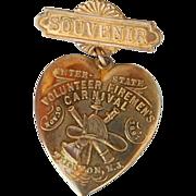 SALE 1897 Firemen's Carnival Trenton New Jersey Sweetheart Souvenir brooch heart