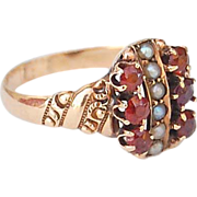 SALE antique Victorian red stone seed pearl 10kt gold ring garnet tourmaline Sz 5 3/4