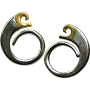 SALE Fun Vintage Pierre Cardin designer logo two tone front hoop earrings