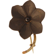 Victorian Mourning Forget me Not flower Vulcanite pin brooch