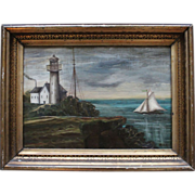 SOLD Antique Signed Folk Art framed Lighthouse Painting