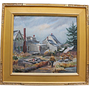 Large Vintage Painting of Clam Digger by Jean Hogan Listed Artist