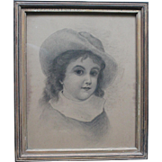 Antique Framed Portrait of a Lovely Young Girl/1860s-1870s/Charcoal/Well Executed