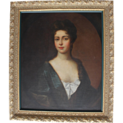 SOLD Large Framed Antique Oil on Canvas Portrait of a Beautiful Woman/early-mid 1800s/From J.