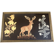 Antique Raised Embroidery Stag on Black Velvet Wall Hanging Rug 19th Century Large Hand Made .