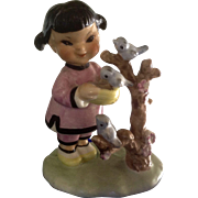 Lefton / Napco # F37 Asian Girl with Blue Birds Figurine Mid-Century Japan Ceramic