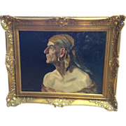 William L. Carqueville (1871-1946) Portrait Oil Painting, Pirate Gypsy, Listed Artist