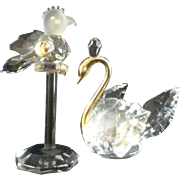 Vintage Lead Crystal Birds Parrot and Swan Aurora Borealis Rainbow reflection figurines