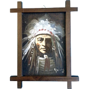 G Tany, Indian Chief Small Oil Painting on Canvas Board Signed by Artist