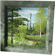 Jade Sand Painting Forest View Adorable Miniature Picture Wall Hanging