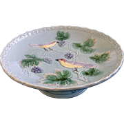 230 Georg Schmider Zell Majolica Bird and Grape Vine Footed Compote Cake Plate G.S ...