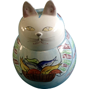 Vintage Italy Cat Cookie Jar Hand Painted Signed by Artist Italian Pottery