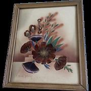 Ida Bisek Prokop (1902 - 1990) Prairie Picture Folk Art Floral Display of Wildflowers, Feather