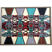 REDUCED Rochelle Newman, Geometric Abstract African Style Acrylic Painting Works on Paper
