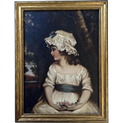 After Joshua Reynolds Girl in Bonnet Oil Painting on Board 19th Century Art