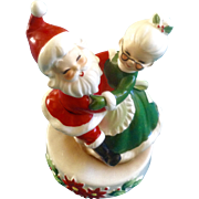 "Josef Originals Christmas Santa and Mrs. Claus Music Box figurine Plays, ""Santa Claus is ..."