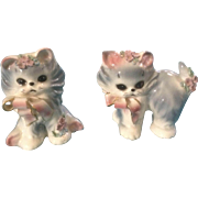 Josef Originals Puff & Fluff Cat Kittens with flowers Japan Ceramic Figurines Vintage