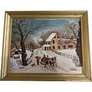 Romelia Carrillo, Primitive Folk Art Painting Winter Street with Sleigh and House, Oil Paintin