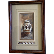 Wollert, Watercolor Painting, Southwestern Indian Vase, Works on Paper Signed by Artist
