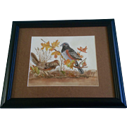 Joann Falk, Towhee Birds, Avian Watercolor Painting Works on Paper, Signed by Artist