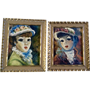 Pilar Schmitter, Victorian Parisian Ladies in Flower Bonnets, Oil Painting on Canvas Signed by