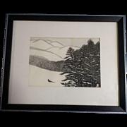 Aoyama Masaharu (Japanese 1893-1969), Snowy Mountain and Japanese Pheasant Woodblock Print o .