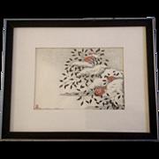 Aoyama Masaharu (Japanese 1893-1969), Nandin in Snow Woodblock Print o-bosho  chuban 19.5 ...