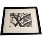 Aoyama Masaharu (Japanese 1893-1969), Snow Covered Japanese Apricot Tree Woodblock Print o ...