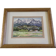 Kanoko Saizyo, Watercolor Painting, Homestead Ranch in the Foothills, Works on Paper Signed by