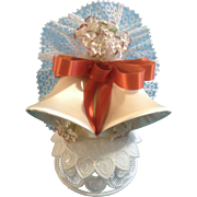 Vintage Wedding Cake Topper, Amidan's, Two Satin Beige Bells and Burnt Orange Rust Ribbon, .