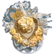 Vintage Wedding Cake Topper, Amidan's, Heart & Butterfly Peachy Orange Ribbon, Flowers and .
