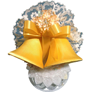 Vintage Wedding Cake Topper, Amidan's, Two Satin Yellow Bells, Ribbon, Peach Flowers and ...