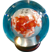 Beautiful Chinese Inside Reverse Painted Glass Fancy Gold Fish Globe Signed by Artist
