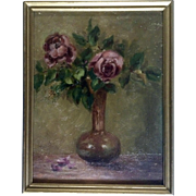 Shabby Chic Roses in a Vase Still Life Oil Painting on Artist Board 1920's