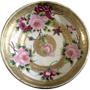 "Antique Hand Painted Nippon Moriage Roses Jeweled Bowl Gold 1/4 "" Maple Leaf Backstamp"