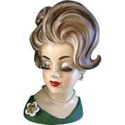 SOLD Napco Head Vase Lady EXTRA LARGE 10 Inch  Woman in Green Dress Napcoware C6987 ...