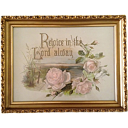 """Rejoice in the Lord Alway"" Chromolithography Antique Chromo Litho Religious Print"