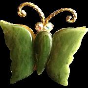 Jade Butterfly  Mid Century Dark Emerald Green Rhinestone Rainbow Eyes Brooch Pin.