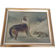 """SOLD Print Lithograph """"Found"""" or """"The Shepherd's Call,"""" Walter Hunt (1861-"""