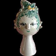 "Bjorn Wiinblad Titania Head Vase Figural Denmark Own Studio 7-1/2"" Vase OOAK One ..."