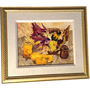 """""""Cornucopia Harvest"""" Original Oil Painting on Board with Fruit and Canned Items Sign"""