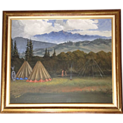 Margery Stephenson, Two Indians at Camp in the Western Rocky Mountains, Original Acrylic on ..