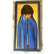 Big Sad Eyed Native American Indian Boy in a Blue Blanket, Large Oil Painting on ...