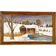 Martha Vivien Wecker Borgman (1900 - 1984) Folk Art, Primitive, Covered Snowy Bridge, Original