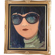 Mod Girl in Dark Sun Glasses, Modern Art Original Oil Painting on Canvas by Unknown ...