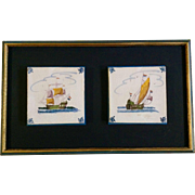 Delftware Ceramic Tile, Vintage Old Dutch Tiles, Two Sailing Ships, Holland Netherlands, ...
