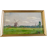 SOLD Small Adorable Vintage Dutch Windmill and Cows Watercolor Works on Paper Painting Picture