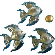 Irene Smith Wall Fish Plaques Black Opalescent Gold tone Ceramic Decor Vintage Retro Mid - ...