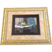 "Edith Damon Baxter, Titled ""Bohemian Glass Still Life,"" Vintage Pastel Drawing Pictu"